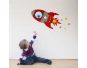 Fliegende Rakete Wandtattoo von Stickerscape - Wandaufkleber (Rot, Reguläres Größe)