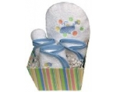 Dee Givens & Co-84510 Raindrops Blue Whale Bubbles n Stripes Waschlappen Geschenk-Set - Blau - 9 in. x 9 in.