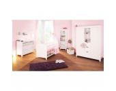 Komplett Kinderzimmer NINA, 3-tlg. (Kinderbett, breite Wickelkommode und großer 2-türiger Kleiderschrank mit Mittelregal), massiv/Weiß lasiert Gr. 70 x 140