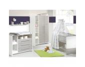Komplett Kinderzimmer ECO SILBER, 3-tlg. (Kinderbett, Wickelkommode und 2-türiger Kleiderschrank mit Seitenregal), Pinie silber/weiß Gr. 70 x 140