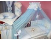 Lux4Kids Kinderbettausstattung Bett Set 135x100 Nestchen Wickelauflage Himmel & Stange Mobile Kopfkissen Spannbettlacken 03 Mond Blau