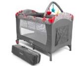 Froggy® Kinderreisebett Babybett mit Schlafunterlage, Wickelauflage, Spielbogen, Transporttasche, höhenverstellbar, 120 x 60 cm in Grau