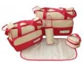 DAS ORIGINAL BOMIO® 5teiliges Baby Wickeltaschen-Set mit viel Stauraum Rot