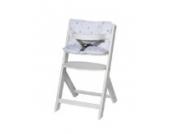 Schardt 01 126 00 02 1/679 Hochstuhl Domino III, weiß inklusive Sitzkissen/Sternchen grau