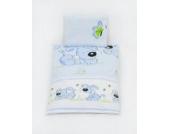 Bettwäscheset mit Decke 80x70 Bettzeug für Kinderwagen Stubenwagen Babywiege (Muster: Hund mit Knochen_puderblau)