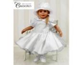 Taufkleid Babykleid Kleid weiß Set inkl. Hut Gr. 80 Modell 4297