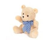 Teddybär mit Wunschnamen und Datum - von STEINER - Kuscheltier handgefertigt | heller Knuddelbär mit blauer Schleife | Geschenk-Idee für Weihnachten & zur Geburt