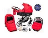 Allivio - 3 in 1 Reisesystem einschließlich Kinderwagen mit schwenkbaren Rädern, Kinderautositz, Buggy und Zubehör, Schwarz und Rot