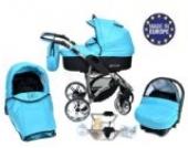 Allivio - 3 in 1 Reisesystem einschließlich Kinderwagen mit schwenkbaren Rädern, Kinderautositz, Buggy und Zubehör, Schwarz und Türkis