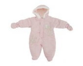 Baby Schneeanzug mit Kapuze, Giraffe Growing By The Minute (3-6 Monate (62)) (Pink)