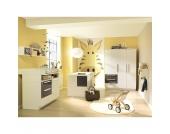 Komplett Kinderzimmer MILLA groß, 4-tlg. (Kinderbett, Kommode, Wickelaufsatz und 3-türiger Kleiderschrank), Weiß/Lava Hochglanz Gr. 70 x 140