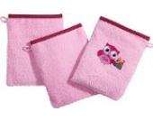 Kinderbutt Waschhandschuh 3er-Pack Frottier rosa Größe 15x21 cm