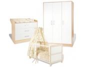 Komplett Kinderzimmer FLORIAN groß, 3-tlg. (Kinderbett, Wickelkommode breit und 3-türiger Kleiderschrank), Ahorn/Cremeweiß Gr. 70 x 140