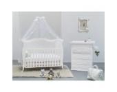 Babyzimmer komplett SET Rinascimento mit besonderem Babybett, Wickeltisch, Matratze und Himmel AD