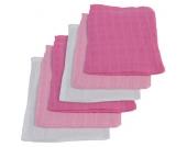 Waschlappen, Mull, fuchsia/ rosa/ weiß, 15 x 21 cm, 6er Pack