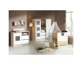 Komplett Kinderzimmer ECO SLIDE, 3-tlg. (Kinderbett + US, Wickelkommode und 3-türiger Kleiderschrank), lancelot oak/weiß Gr. 70 x 140