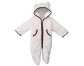 MIKIKIDS Baby Overall Kinder Unisex Jungen Mädchen Schlafanzug Baumwolle Fleeceanzug Schneeanzug Winter Jumpsuit mit Kapuze 90 - Weiß