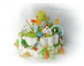 Windeltorte XXL - Hase mit Namen + Schnullerkette & Greifling mit Namen - Geschenk, Babyparty, Geburt oder Taufe + auf Wunsch, gratis Grußkärtchen