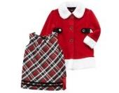 Holiday Weihnachten Kinder Outfit Kleid + Mantel rot weiß (110)