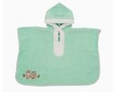 Schlummersack kuschelig weicher Badeponcho mit Kapuze Mint Eule für Kinder 1-4
