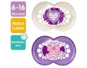 MAM Latex-Schnuller Original 6-16 Monate für Mädchen