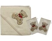 Set Kapuzenbadetuch mit 2 Waschlappen, Teddy II natur, 80 x 80 cm