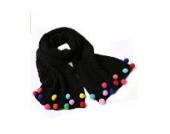 Ayouyou Herbst Winter Mode Mädchen Gestrickte Warme Bonbonfarbenen Schal mit Fransen Schal (Schwarz)