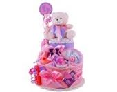MomsStory - Windeltorte Mädchen | Teddy Bär | Geschenk zur Geburt, Taufe, Babyshower | 2 Stöckig (Rosa/Lila)