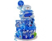 MomsStory - Windeltorte Junge | Teddy Bär | Geschenk zur Geburt, Taufe, Babyshower | 2 Stöckig (Blau)