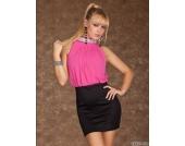 Kleid/Minikleid in pink-schwarz Gr��e XS S M