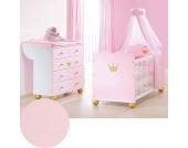 Sparset KAROLIN (Kinderbett & Wickelkommode), Fichte massiv/Weiß-Rosa lasiert Gr. 70 x 140