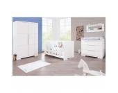 Komplett Kinderzimmer POLAR groß, (Kinderbett, Wickelkommode breit und 2-türiger Kleiderschrank), weiß edelmatt Gr. 70 x 140