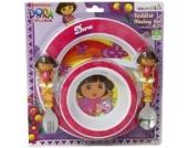 Dora the Explorer, 4tlg. Kinder Geschirr Set - Menüteller, Schale, Bestecke aus USA