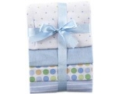 Luvable Friends 4-Pack Flannel Receiving Blankets (Babydecken, blau)