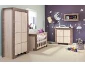 Babyzimmer Kinderzimmer NEW GENERATION Eiche Grau & Creme Babymöbel Set 4tlg komplett Schrank 3-türig Babybett Wickelkommode Wandregal