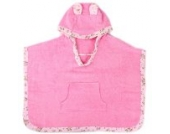 Minene 3200 kuscheliger Badetuch Poncho mit Kapuze, rosa