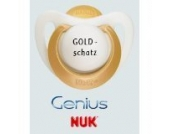 Nuk Genius Schnuller mit Namen 4 Stück - Latex - gold - Gr 1 - Jeder Schnuller eine andere Gravur!
