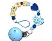 Schnullerkette mit Name Boy Ornamente blau