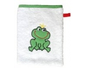 Smithy Waschhandschuh-Waschlappen, Motiv Frosch, Farbe weiß, Material Baumwolle