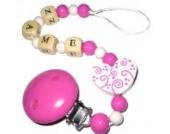 Schnullerkette mit Name Ornament pink