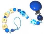 Schnullerkette mit Name Auto blau