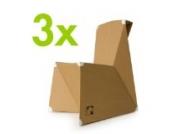 3er Set knikits Kinderstuhl aus Pappe, Pappstuhl Faltbogen zum Selberfalten und Gestalten