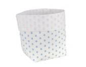 Sugarapple Utensilo Stoff Aufbewahrungsbox aus Baumwolle 19 x 13,5 x 13,5 cm, Stoffbox fürs Bad, als Wickeltisch Organizer oder Windelspender Korb, Sterne hellblau
