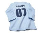 Nappy Head Individuelles Baby/Kinder-T-Shirt - Himmelblau mit langen Ärmeln (Fußballhemd),6-12 Monate