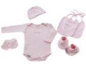 Naf-Naf 30406 Kleinkind (Body, 2 Lätzchen, Socken, Handschuhe, Mütze), 6 Stück, rosa