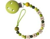 Schnullerkette mit Namen apfelgrün, Baby Schnullerkette mit Namen, Geschenke zur Geburt, Geschenke mit Namen