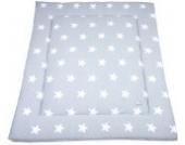 Laufgittereinlage Sterne gestrickt 100 x 85 cm, Grau/Weiss
