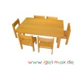 Krippen Möbelset Tisch 120x60 cm + 6 Stühle 26 cm Sitzklasse 1