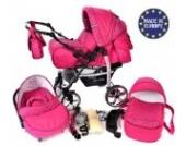 Baby Sportive X2, 3 in 1 Kombikinderwagen set - incl. Kinderwagen mit Zubehör, Babyschale und Sportwagen Aufsatz. System mit Schwenkräder. Reisesystem Farbe: Rosa und Punktmuster