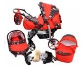 Sportive X2-3 in 1 Reisesystem einschließlich Kinderwagen mit schwenkbaren Rädern, Kinderautositz, Buggy und Zubehör (3 in 1 Reisesystem, Rot und kleine Blumen)